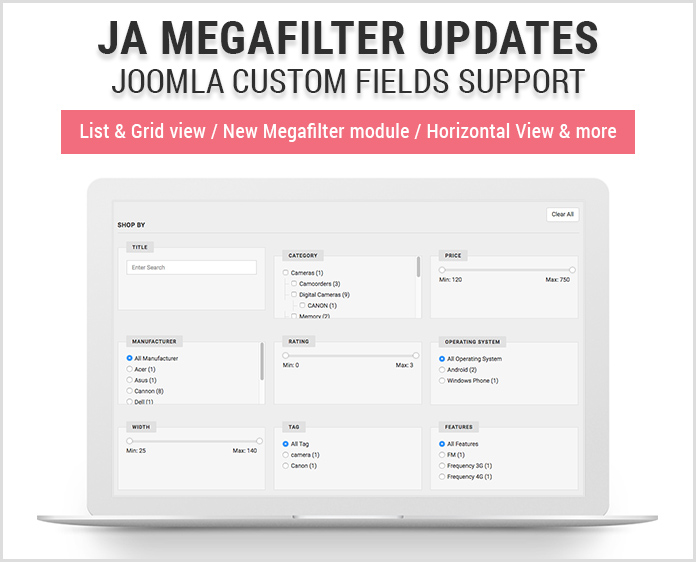 Search and filter extension for Joomla
