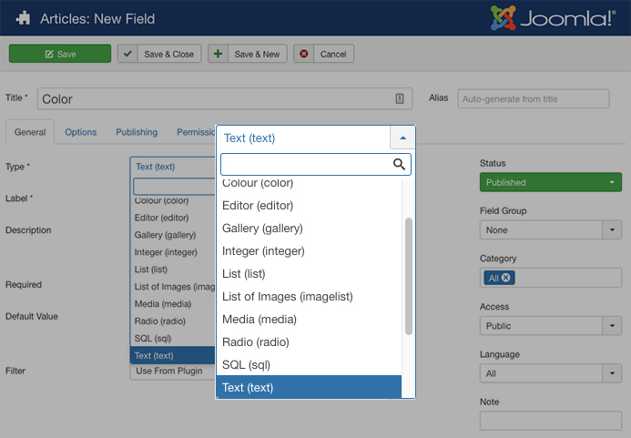 Joomla custom fields filter