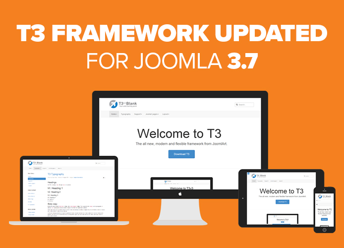 T3 Framework is updated for Joomla 3.7