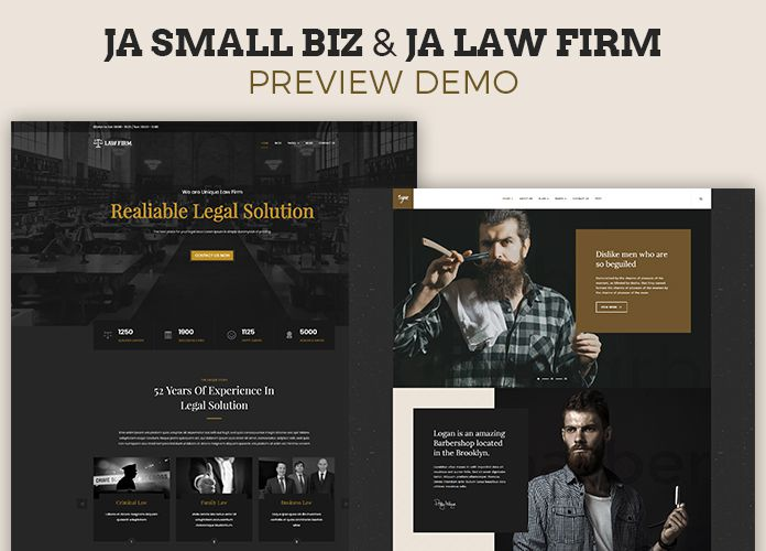 JA Small biz and JA Law Firm - Joomla Template's Demo now available