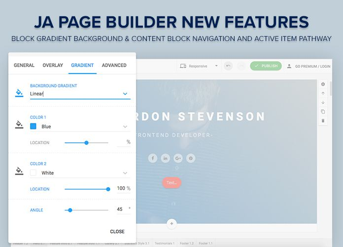 JA Page Builder new features