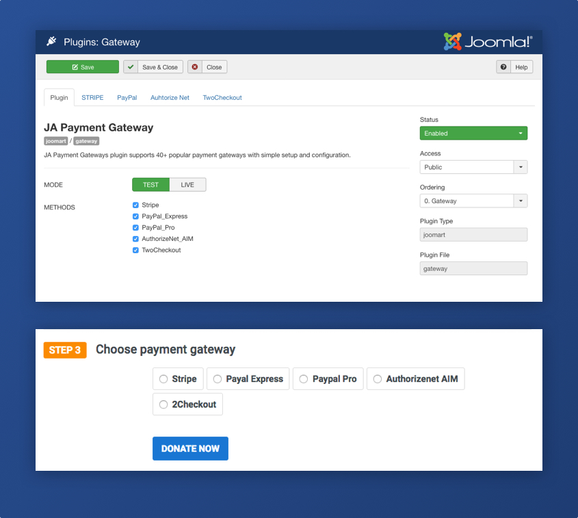 Joomla donation extension DT Donate Payment gateways