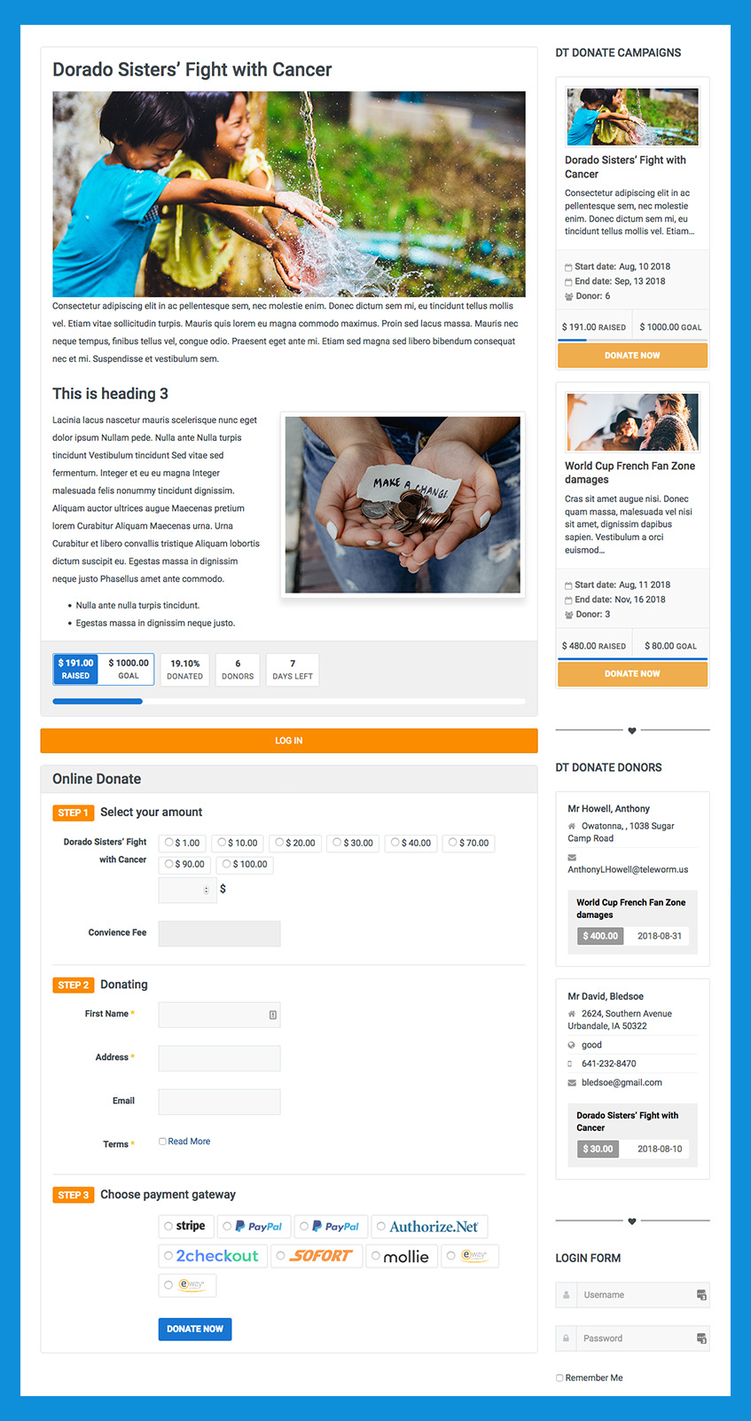 Donation campaign detail page of Joomla donation extension DT donate