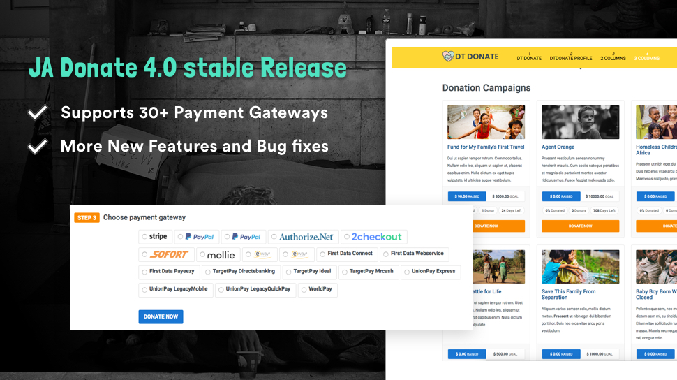 DT Donate joomla donation extension stable released