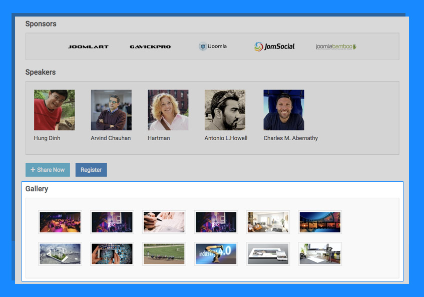 joomla event booking image gallery