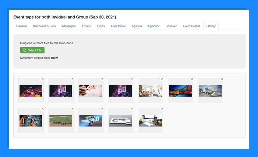 joomla event booking image gallery settings