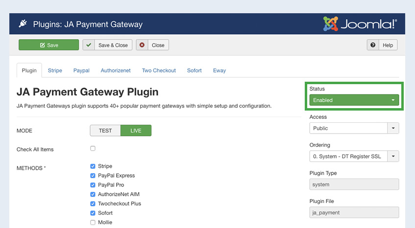 enable joomla event booking payment gateway