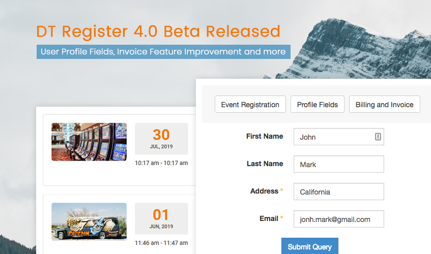DT Register joomla event registration beta released