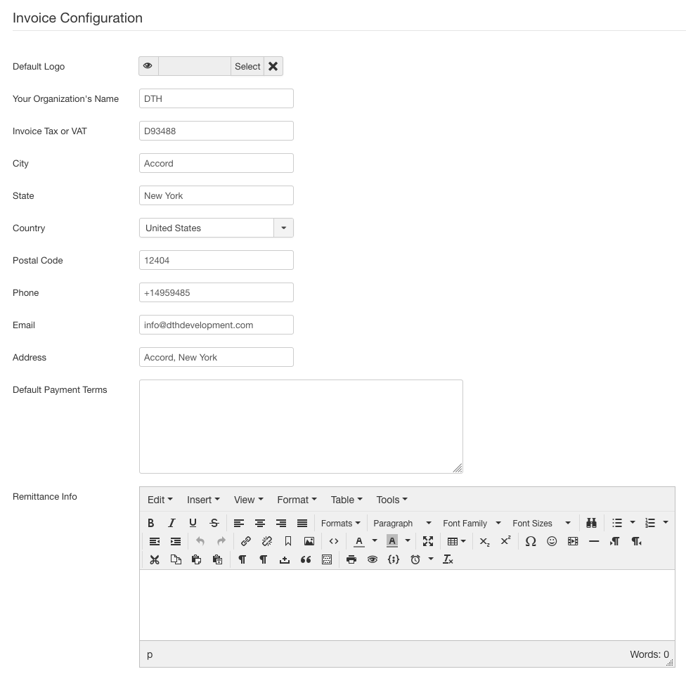 dt register Invoice Configurations