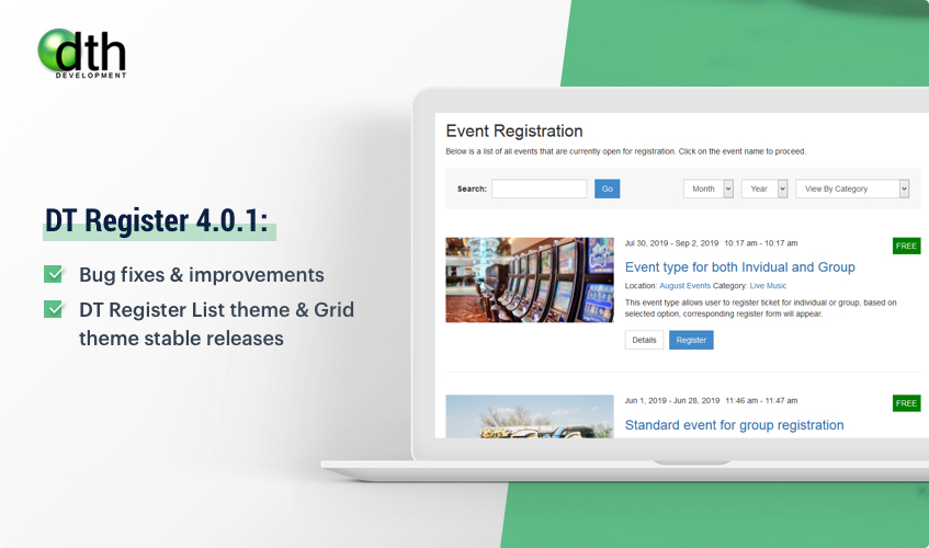 DT Register joomla event registration update
