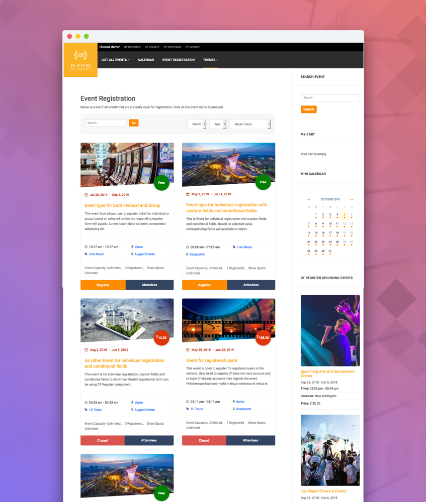 grid theme for joomla event booking extension DT Register