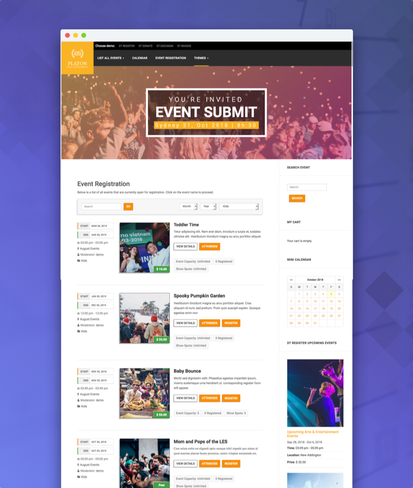 Linear theme for joomla event registration extension DT Register