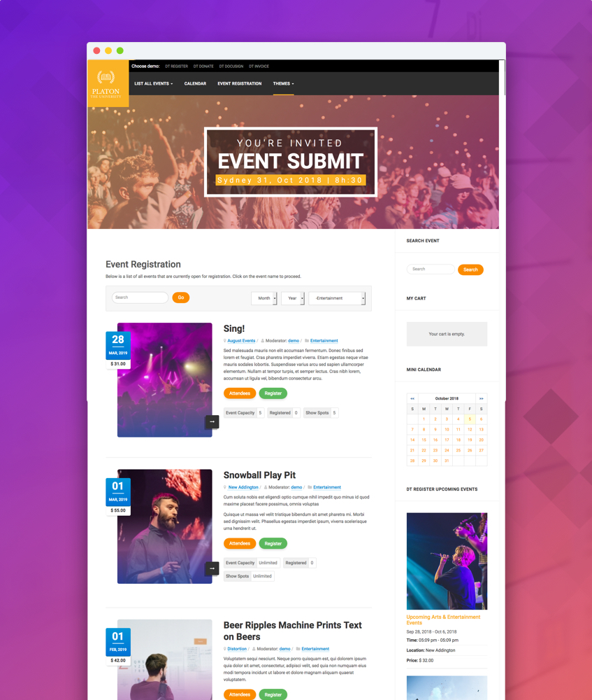 joomla event registration retro theme DT Register
