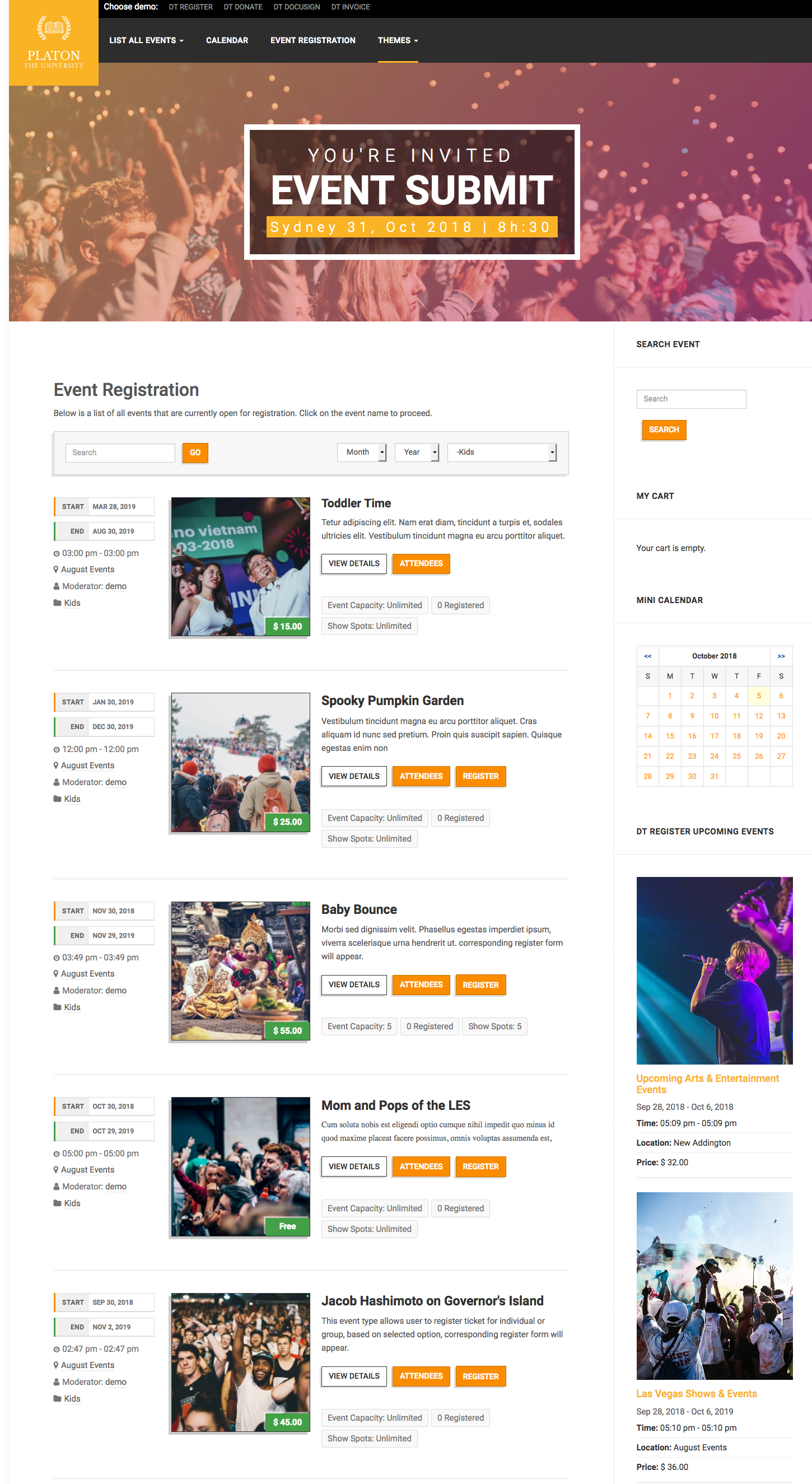 list theme for joomla registration extension