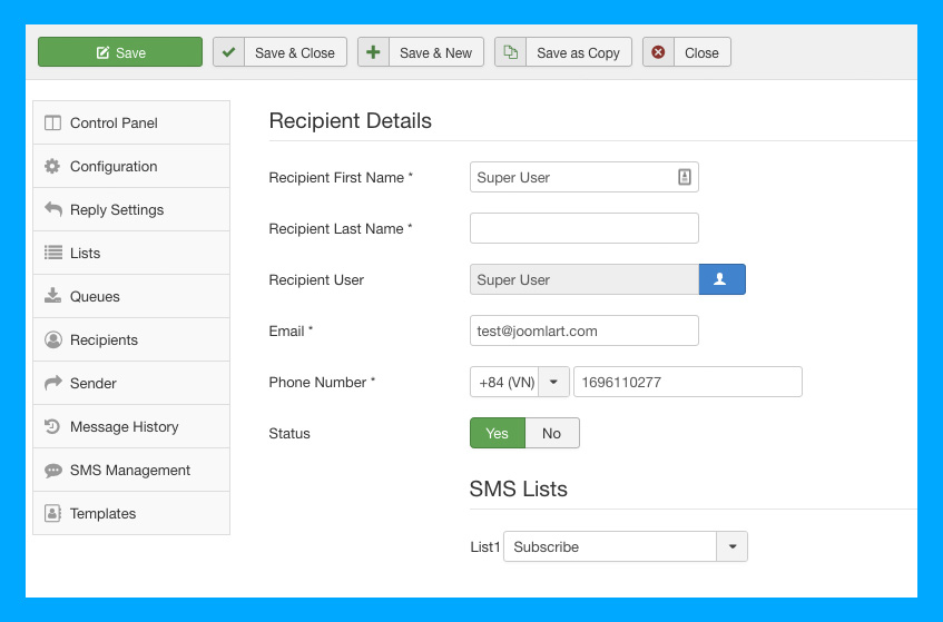 DT SMS Joomla automate messages recipients settings