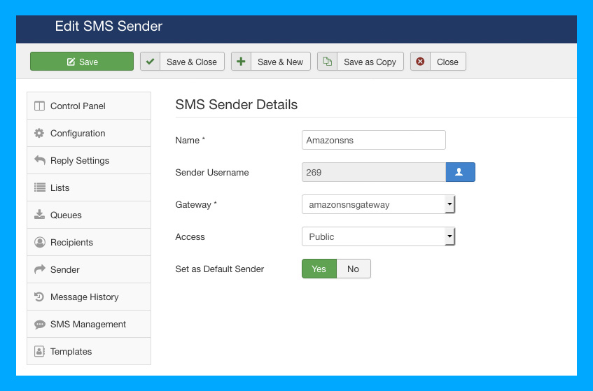 DT SMS Joomla automate messages sender settings