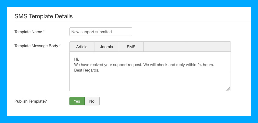 DT SMS Joomla automate messages template settings