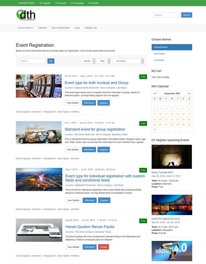 grid theme for joomla registration extension