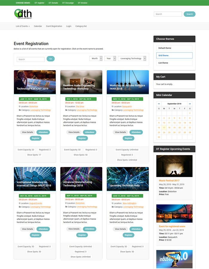 grid theme for joomla registration extension