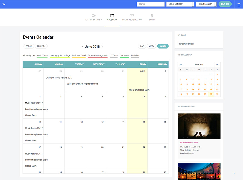DT Register grid theme calendar page