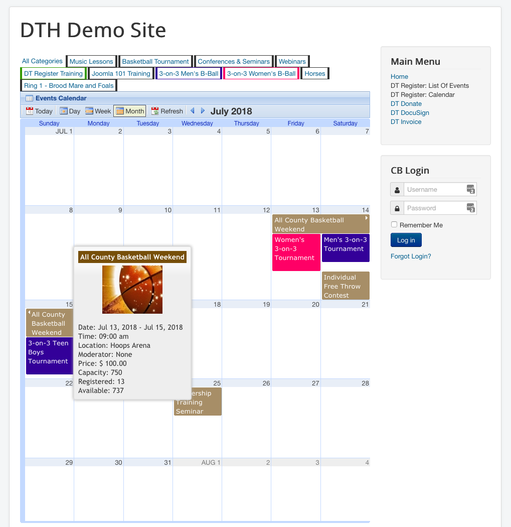 Dt Register old event calender page