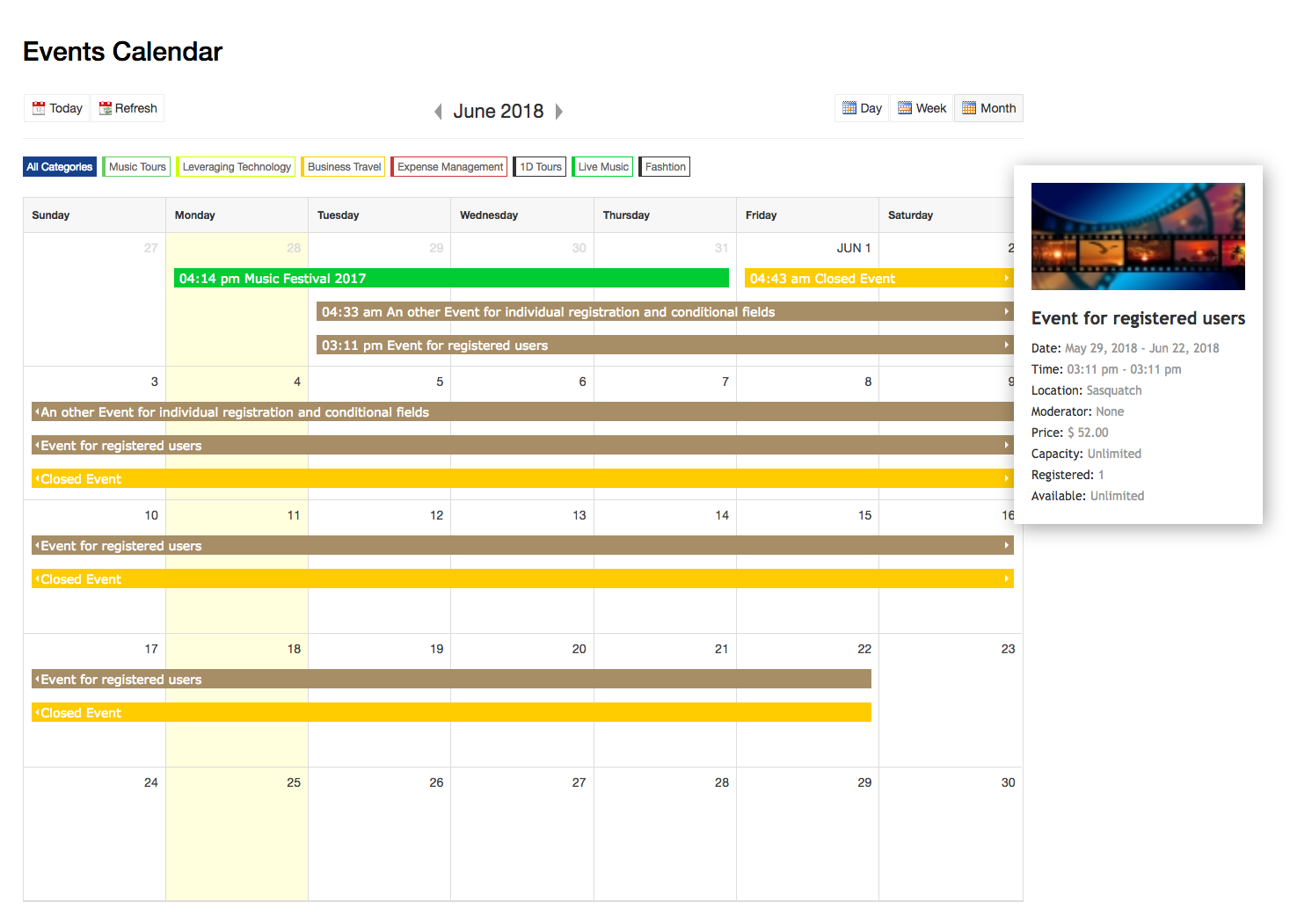 Dt Register new event calender page