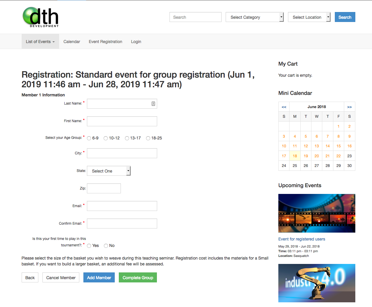 Dt Register old event registration page