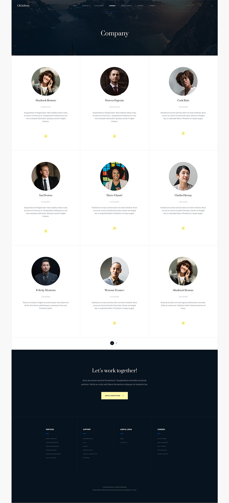 business joomla template team page GK Infinity