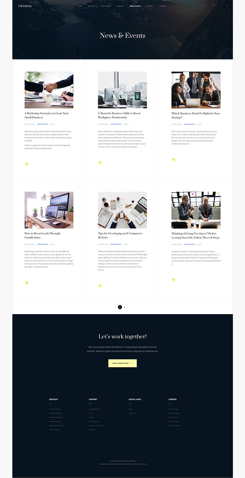 business joomla template home page GK Infinity