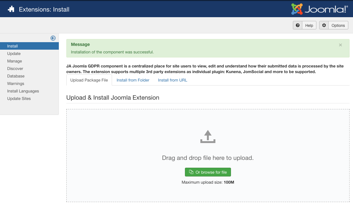 Install JA Joomla GDPR package on your Joomla site