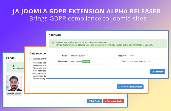 JA Joomla GDPR extension Alpha Released