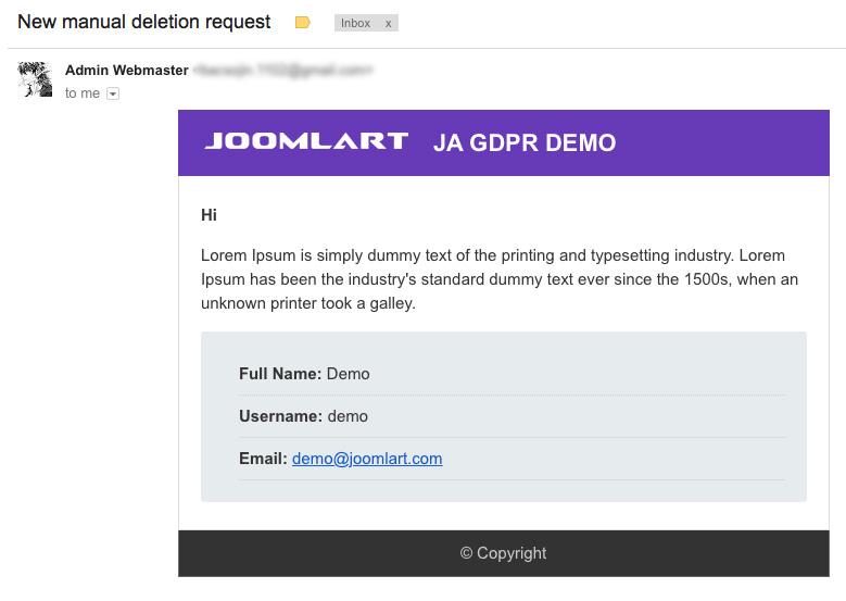 JA Joomla GDPR email template