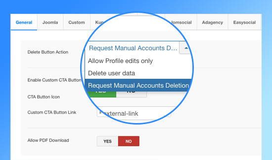 ja joomla gdpr compliance extension settings
