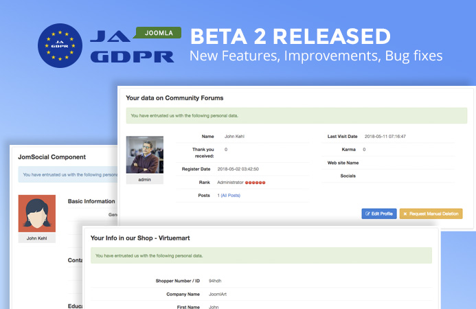 JA Joomla GDPR extension Beta 2 Released - Demo now available