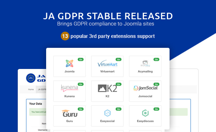JA Joomla GDPR extension stable released with 13 popular 3rd party extensions support