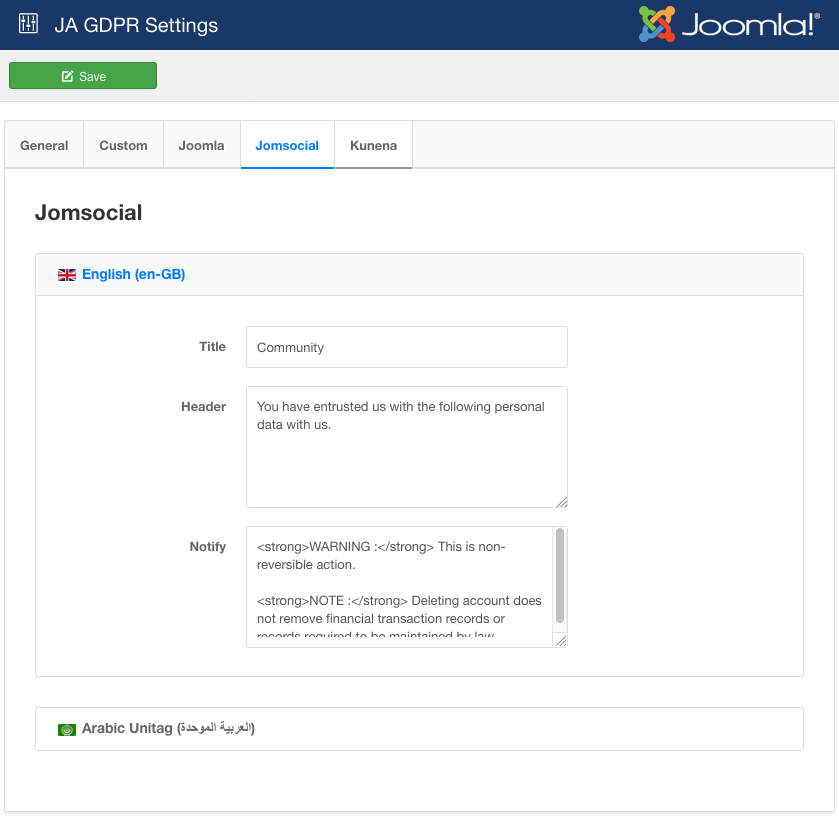 GDPR support for Jomsocial setting
