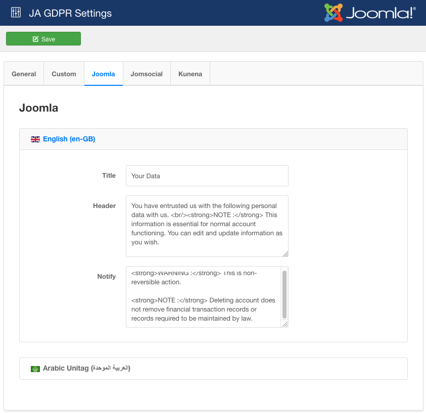 Joomla GDPR back-end settings