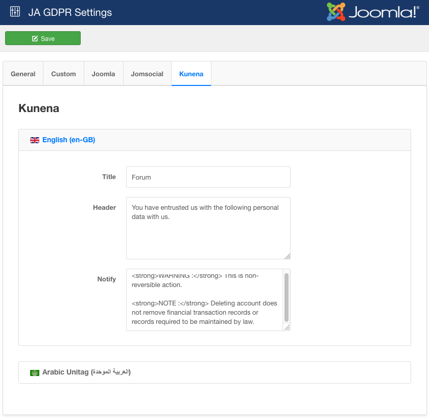 GDPR support for Kunena setting