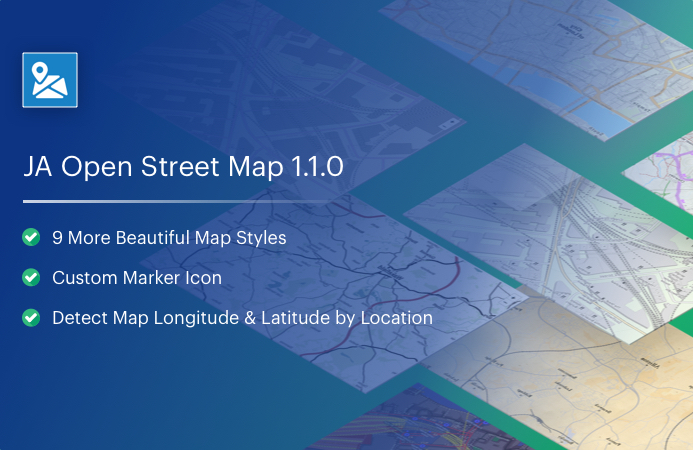 JA OpenStreeMap Joomla extension updated for 9 new map styles and more new features