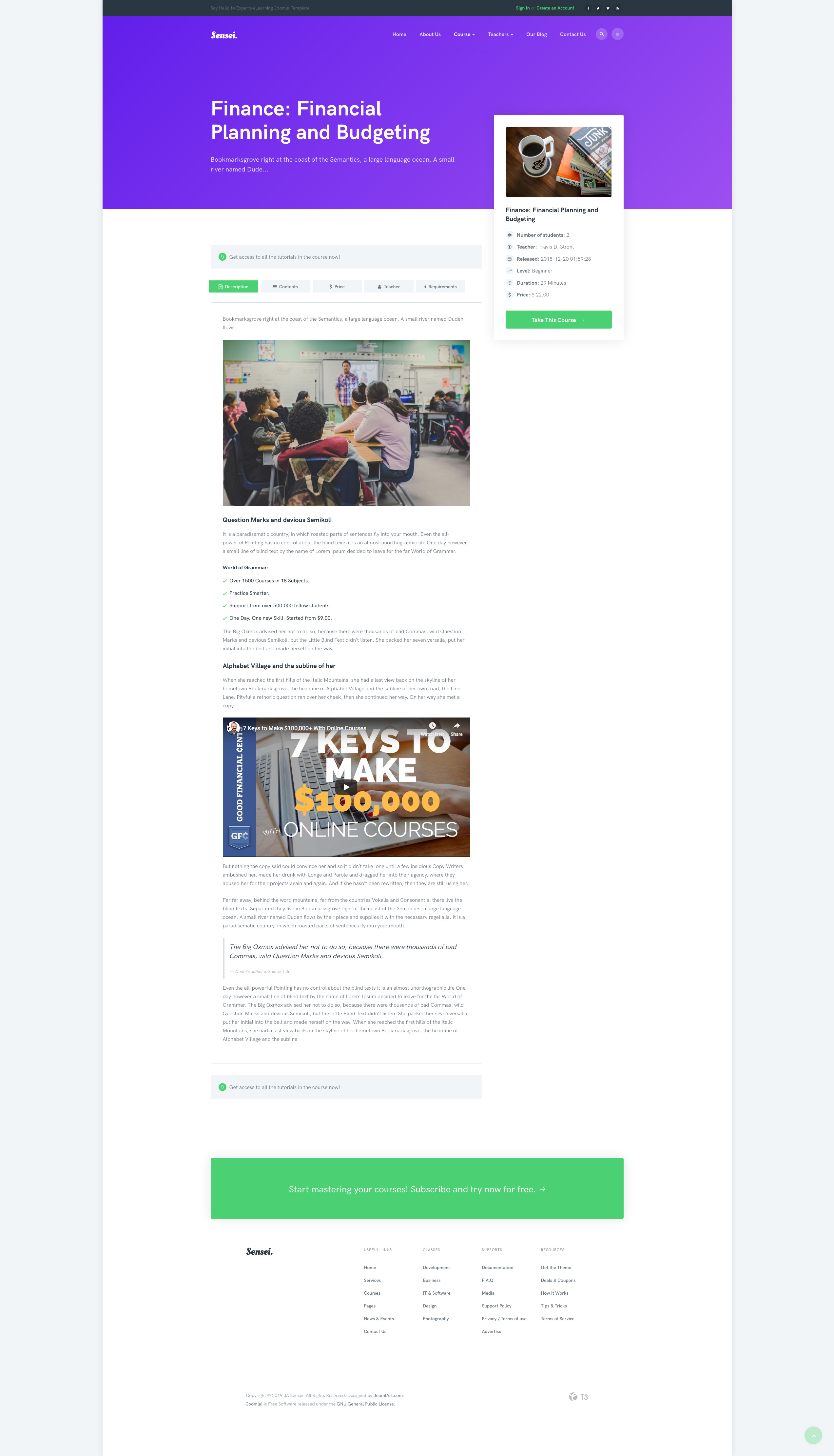 PREVIEW] JA Sensei Education Joomla template with LMS and