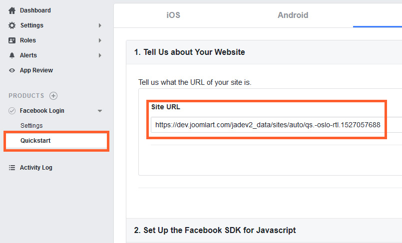 URL setting in facebook app