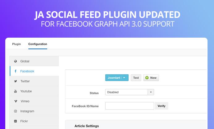 JA Social Feed Plugin updated for Facebook Graph API 3 0