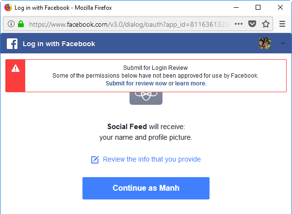 verify facebook app