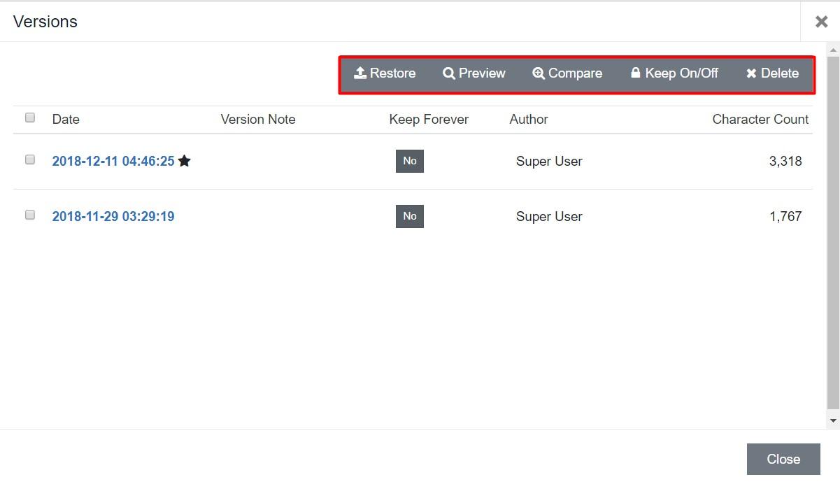 Joomla 4 content versioning view