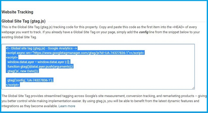 Google Analytics Tracking Code in Joomla