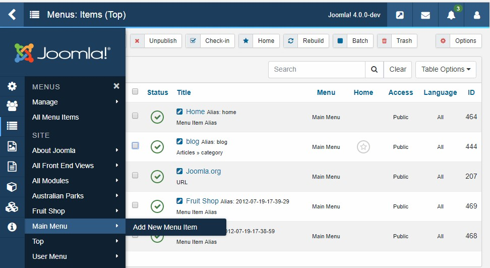 Add menu items in Joomla 4