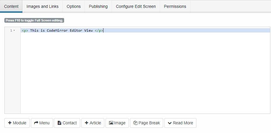 Joomla 4 editor code Mirror
