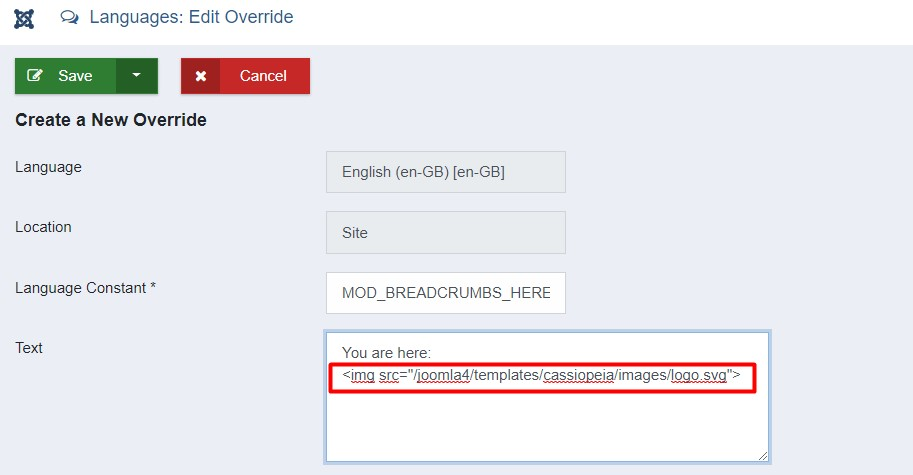 How to use Joomla Language override