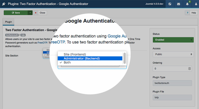 configure Joomla 4 two factor authentication plugins