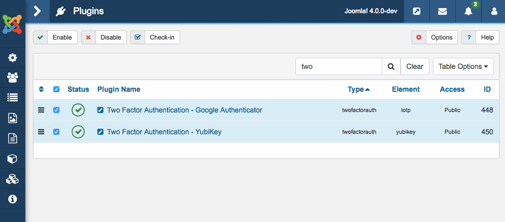 Enable Joomla 4 two factor authentication plugins